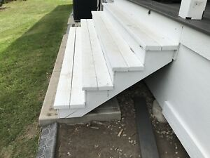 Deck Stairs - Treated lumber - Stained white