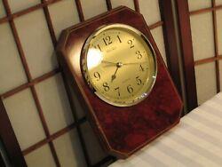 SEIKO QXA116BLH QUARTZ WALL CLOCK BURGENDY WOODEN WALL MOV-T MADE IN JAPAN