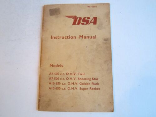 1964 BSA MOTORCYCLE INSTRUCTION MANUAL - TWIN, STAR, FLASH ROCKET - BN-12