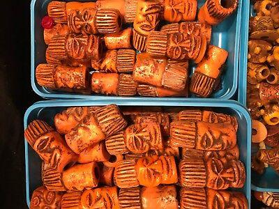 1 Tiki Head Orange Resin Tiki Necklace Drop Hawaiian Rare