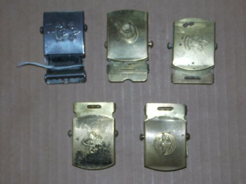 4 Vintage Boy Scout Brass Belt Buckles plus