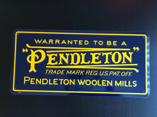 """Pendleton Vintage Logo Wall Sign (Metal with four corner drill holes) 24""""X11.5"""""""
