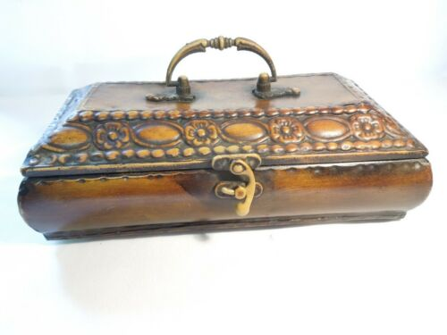 """Large Metal Trinket Storage Box Footed with Handle Ornate Design 10"""" x 5"""" x 4"""""""