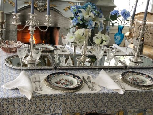 English Sheffield Silver Plate 3 Sections Mirrored Plateau – Extra Long