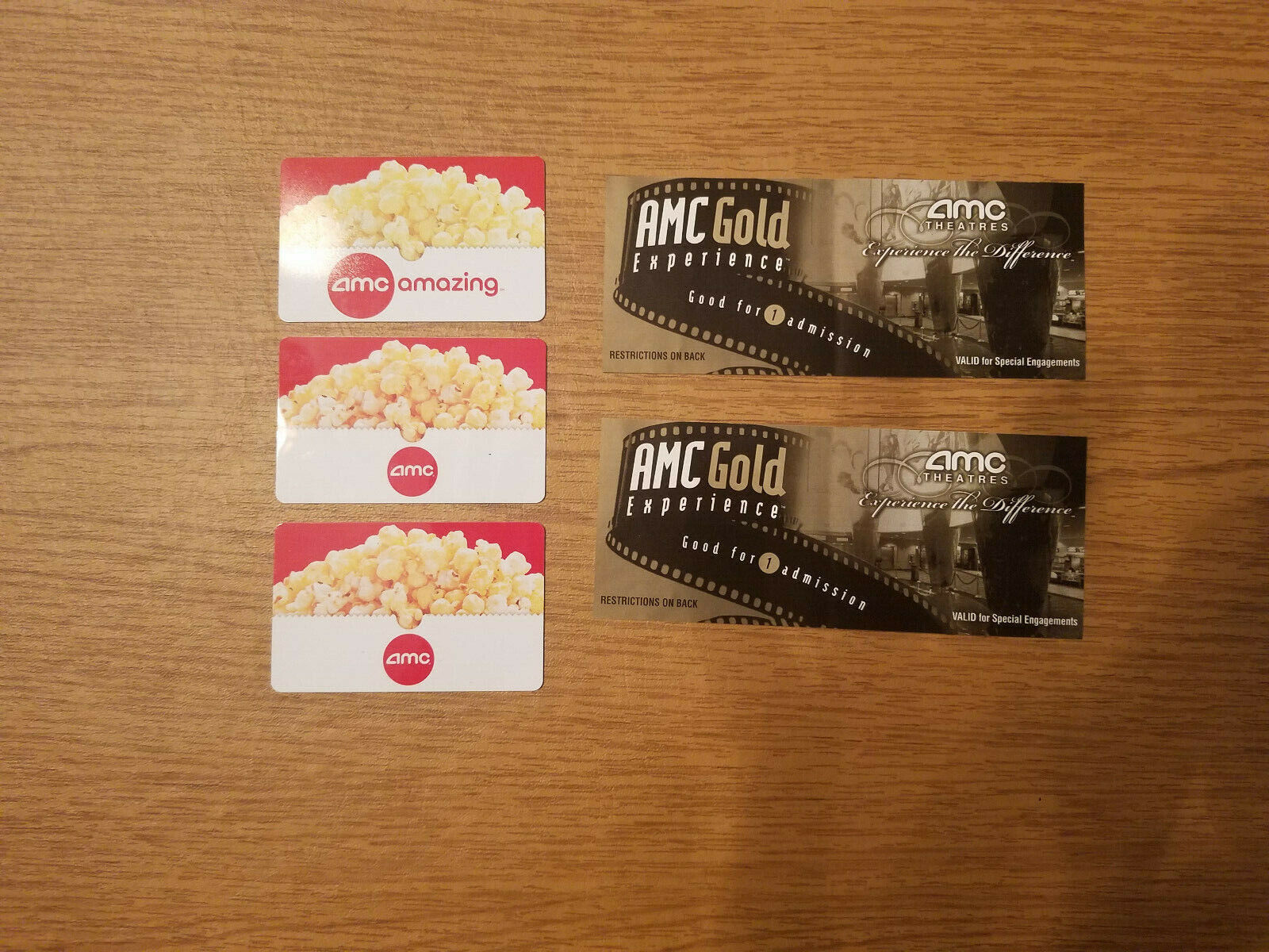 AMC Theatres Gift Cards 60.08 Total 2 Gold Experience Tickets - $43.00