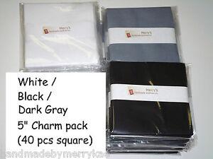 5 Charm Pack Solid Black White Dark Gray Cotton Quilt