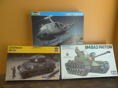 NEW Bell UH-1D Huey Gunship Helicopter Sherman M4 A1 M48A3 Patton Tank Model Kit
