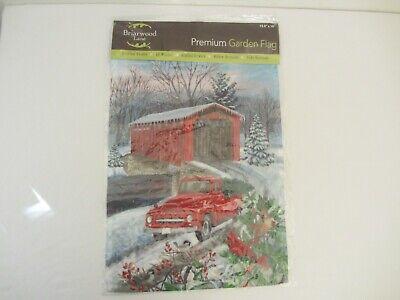 NIP BRIARWOOD LANE Little Red Truck Covered Bridge Garden Flag