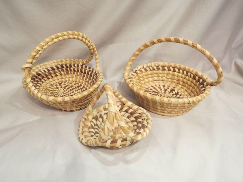 Gullah sweetgrass baskets Lot of Three