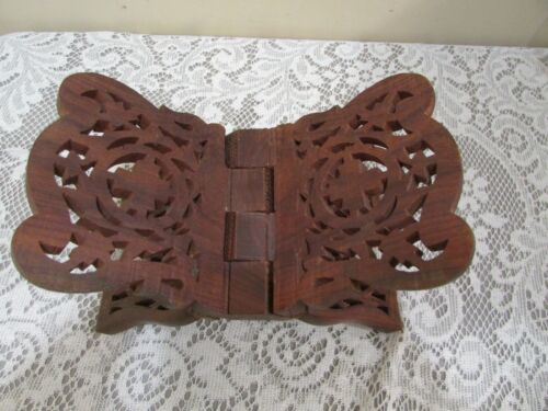 Hand Carved Wood Folding Book Stand Made in India Cookbook Bible Holder