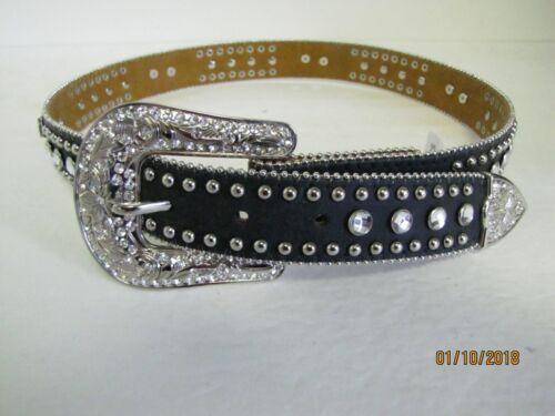 NWT Nocona Girls Black Western Belt Decorative Rhinestones Jewels Horses $32