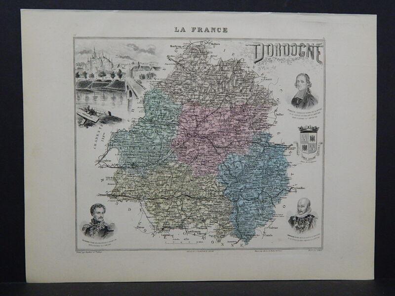 French Department Maps, Antique 1887 Dordogne #56