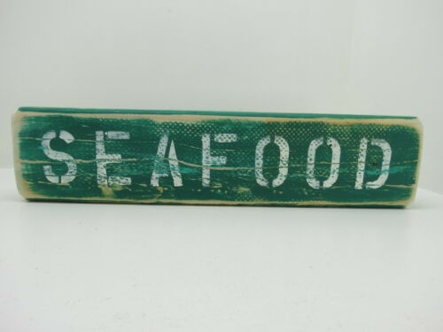 15 INCH WOOD HAND PAINTED SEAFOOD SIGN NAUTICAL MARITIME (#S703)