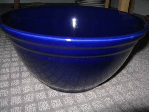 """Cobalt Blue Pottery 12"""" Mixing Bowl Marked USA 0112"""