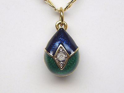 Faberge Egg Style Pendant | Blue Green Enamel | Crystal | Gold Plated | NO CHAIN ()