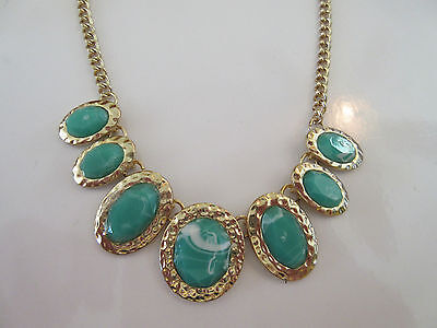 Necklace Green Marbleized Crystal Stamped Metal Art Gold Finish Unique NWT G43 Marbleized Finish Metal