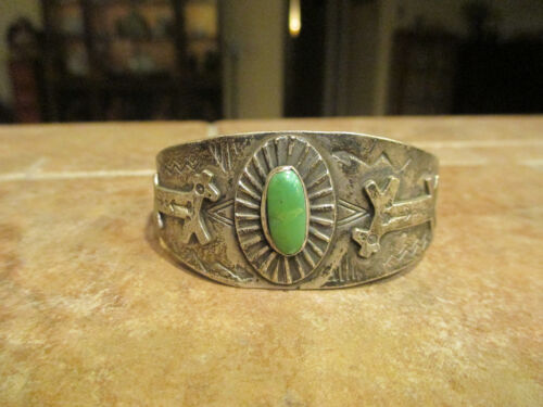 Exquisite OLD Fred Harvey Era Navajo Sterling Turquoise HORSE DOG Bracelet