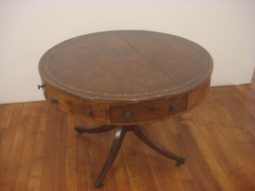 Antique Mahogany Georgian Tooled Leather Inlay Rent/Drum Table