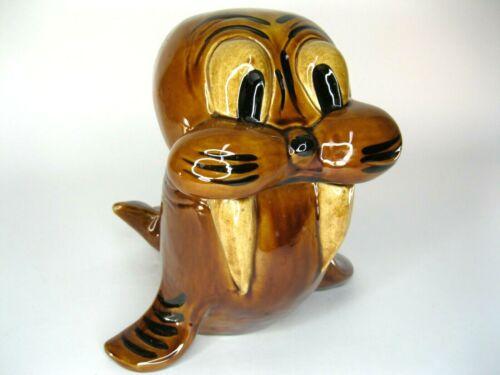 Vintage Walrus Cookie Jar Doranne of California Brown