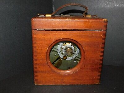 COULET IMPERATOR RACING PIGEON TIMING CLOCK IN MAHOGANY CASE WITH LEATHER HANDLE