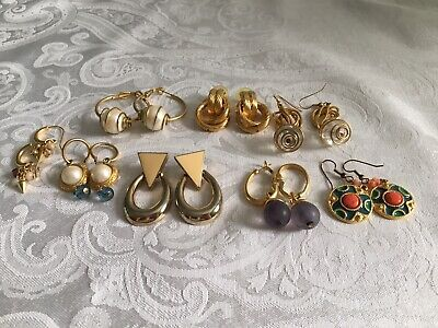 Costumes From The 80 S (Lot of 8 Vintage Earrings from the 80's Gold Tone with Pearls, Beads Various)