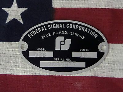 Federal Signal Corporation Siren Models Q Q2 Q2b Replacement Badge