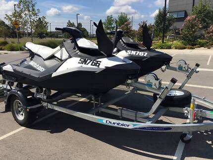 2x 2015 Sea-Doo Sparks 3up HO IBR Jetskis + Double Roller Trailer