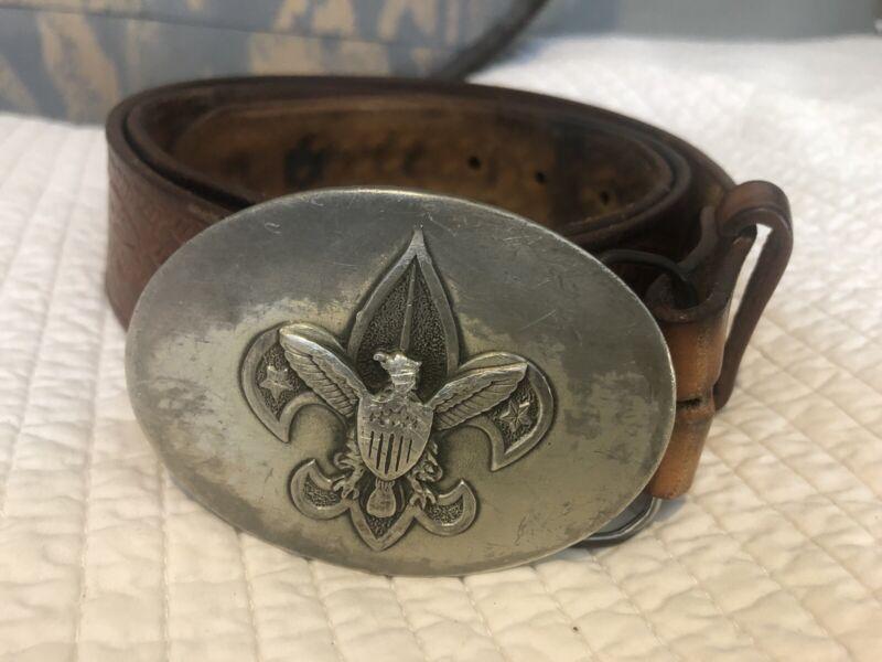 Vintage Boy Scouts BSA Tooled Leather Belt & Buckle, 34