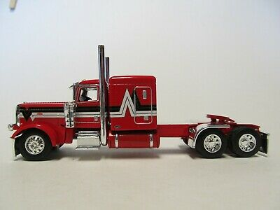 DCP FIRST GEAR 1/64 SCALE 389 PETERBILT FLAT TOP, RED WITH BLACK & SILVER STRIPE 1