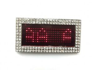 Programmable LED Light Text Screen Display Scrolling Red LED Belt Buckle.W/S