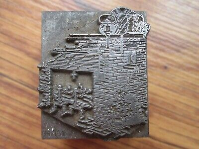 Vintage Metal Printing Letterpress Printers Block Decorated Hearth Fireplace