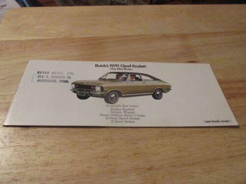 1970 Opel Kadett & Wagon Rallye Sales Brochure catalog 70 Buick