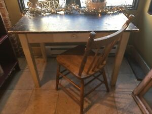 Very rustic table and press back chair