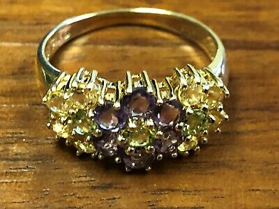 3 Stone Multi Colored Ring - 14 K Yellow Gold Multi-colored Gemstone Ring  Size 7 - 3.5g, 3/8