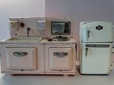 "Vintage Tin Toy Kitchen Sink/Stove & Frig -  8"" Doll Size -  Metal Pink Wht"