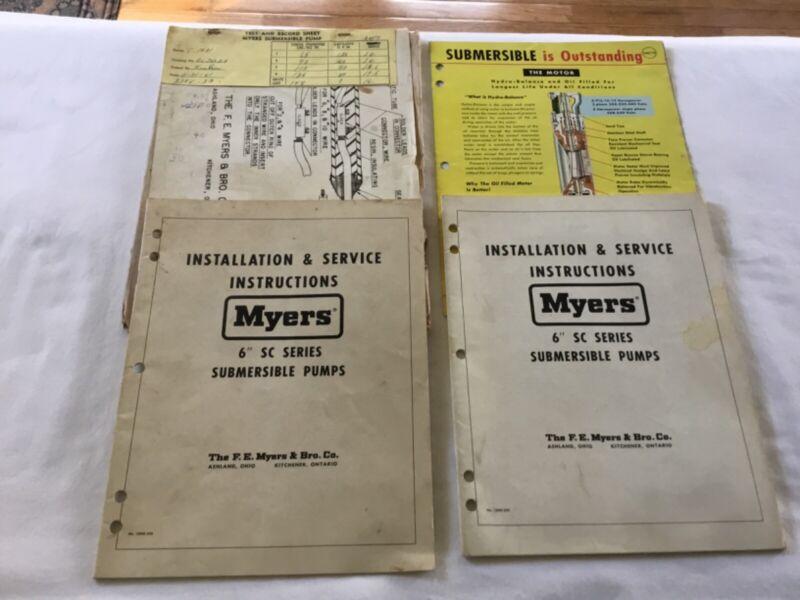 2 Myers SA Series Submersible Pumps Instruction Manuals (1957) 1 Selection Cat.