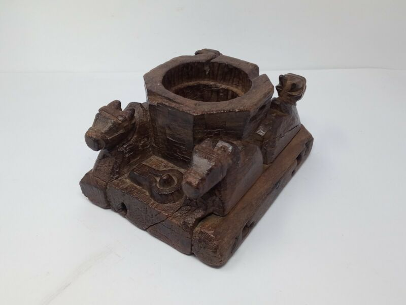 Antique Wooden Shivlinga Figure Mortar Ox Nandi Statue Tribal Mortar Kharal