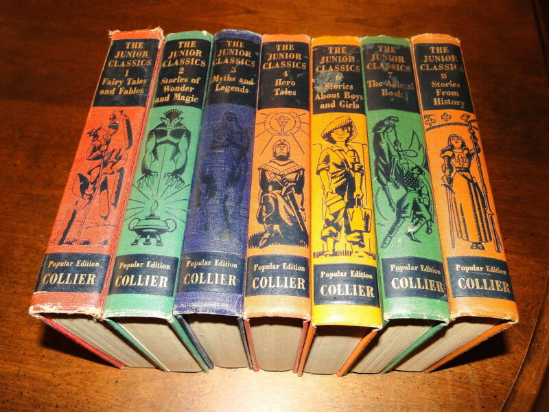 The Junior Classics used hardcover lot of 7 Collier young folks shelf of books