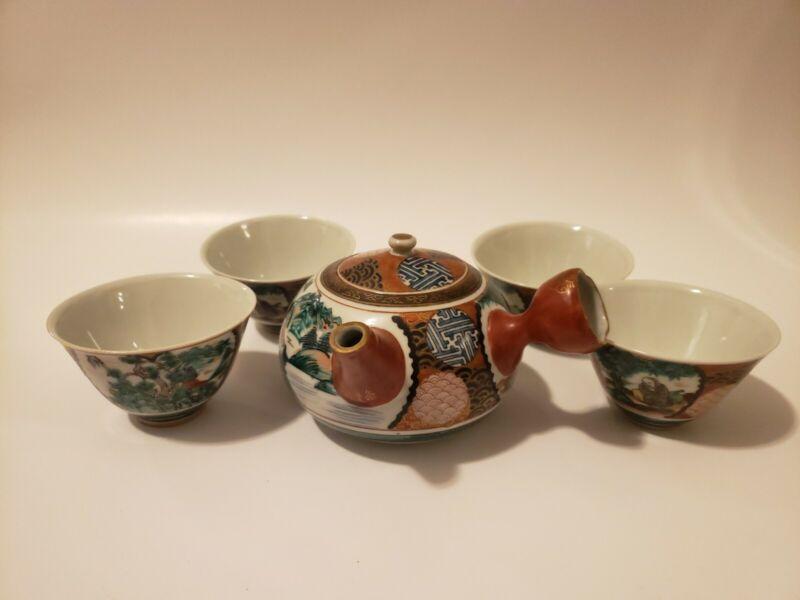 Kutani Shoza Japanese Mid-19c Hand-painted Porcelain 5 Piece Kyusu Teapot Set