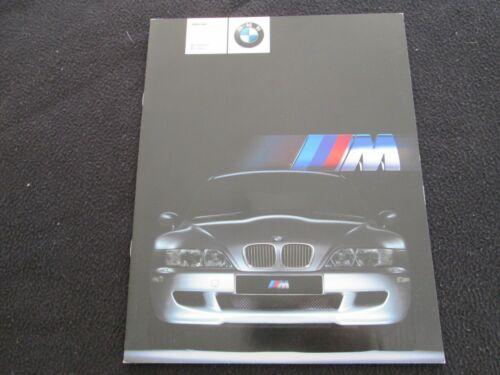 2001 BMW Z3 M Coupe & Z-3 M Roadster 01 Sales Brochure w/ S54 Engine US Catalog