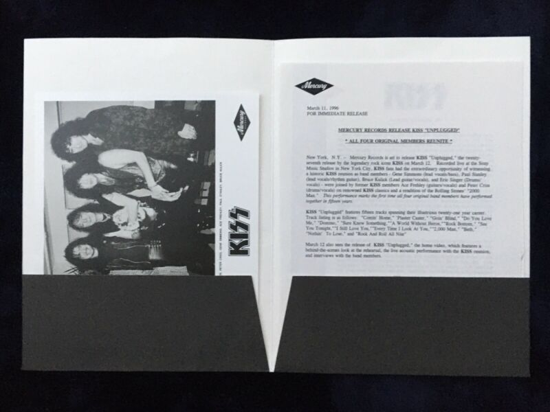 🔥Vintage KISS UNPLUGGED PRESS KIT - COMPLETE MERCURY 1996, NOT AUCOIN, NM RARE!