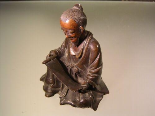 Japanese Meiji Bronze Okimono of Scholar or Teacher