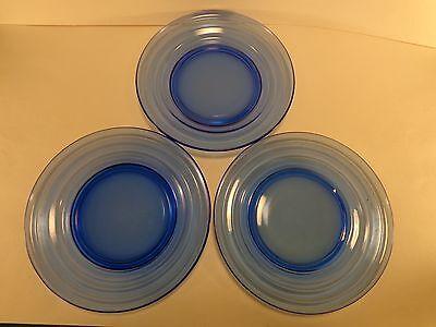 "Vintage 1934-42 Moderntone Cobalt Set of Three  6 3/4"" Salad Plates Hazel Atlas"