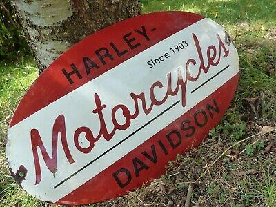 """HARLEY 1903 Porcelain Sign Vintage Biker Motorcycle Advertising 20"""" Domed USA"""