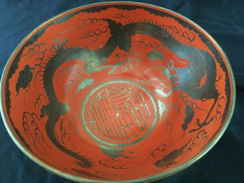 Antique Eiraku Large Porcelain Japanese Red-Orange & Silver Dragon Bowl - Signed