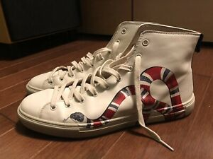 a8087ab983c Gucci Leather High-Top with Snake Sneakers Shoes