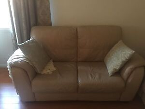 Beige colour leather lounge 3 seater + 2 seater. Woodville North Charles Sturt Area Preview