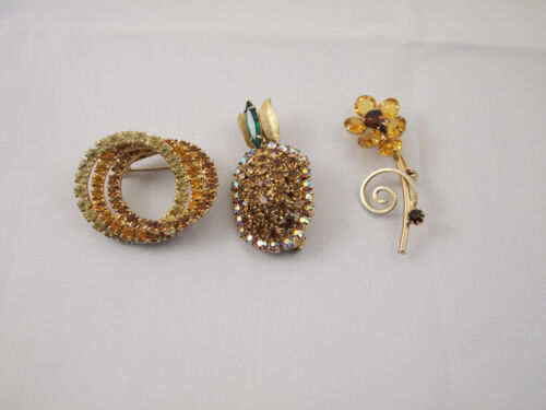 Lot of 3 Yellow Orange Gold Rhinestone Gold Tone Pins Brooches Pineapple Flower