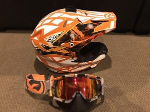 HJC snowmobile helmet and goggles