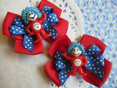 Hair Bows Thing 1 and Thing 2 Hair Bow Clips Right Side & Left Side NEW 2pcs NEW
